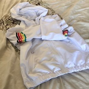 Forever 21 Athletic Rainbow Striped Windbreaker S